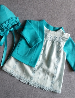 Dress, bonnet and jacket for a reborn doll